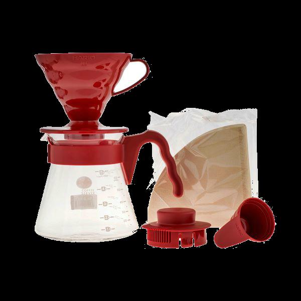 Hario V60 02 sarkans filtra konuss ar trauku un papīra filtriem